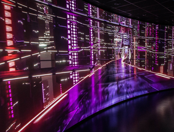 Immersive projection curved screen